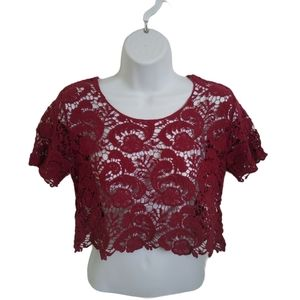 Sexy What? Cropped Crocheted Burgundy Top, M